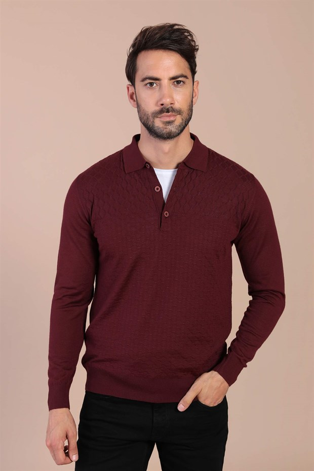 Ferraro Polo Yaka Superfine Yün Kazak - Bordo